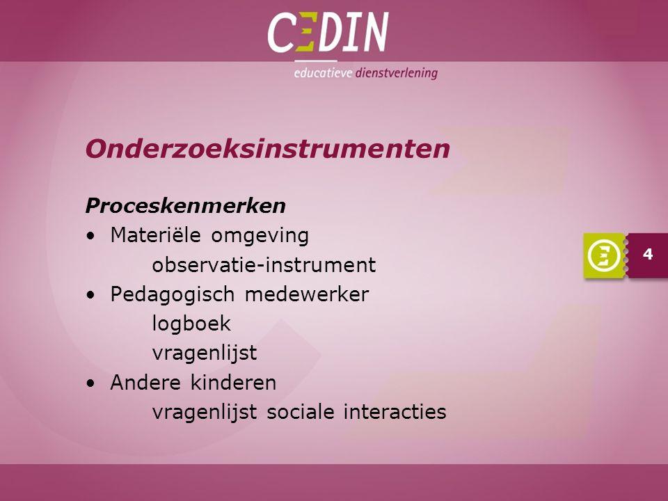 Verwachtingen Materiële omgeving Activiteiten Andere kinderen 15