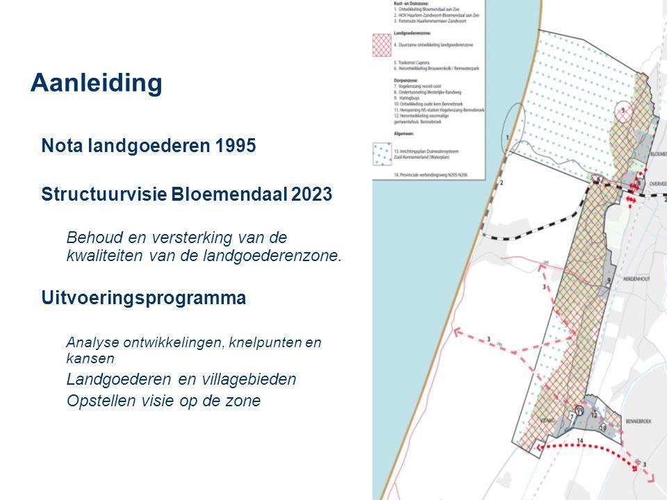 Aanleiding Nota landgoederen 1995 Structuurvisie Bloemendaal 2023 Behoud en versterking van de kwaliteiten van de landgoederenzone. Uitvoeringsprogram