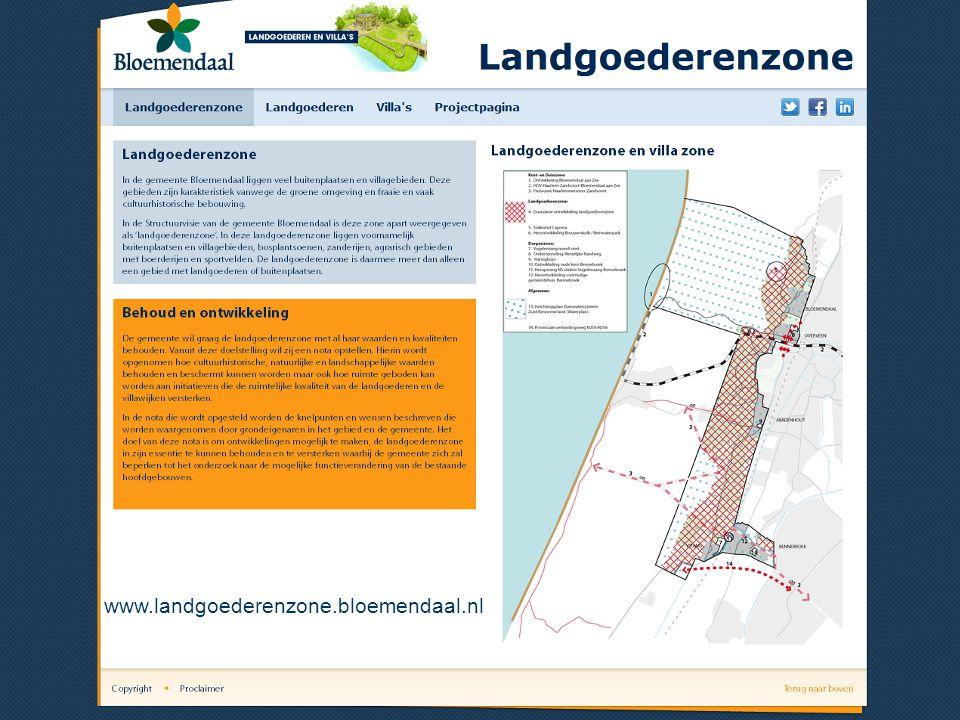 Preview website 1 e pagina website www.landgoederenzone.bloemendaal.nl