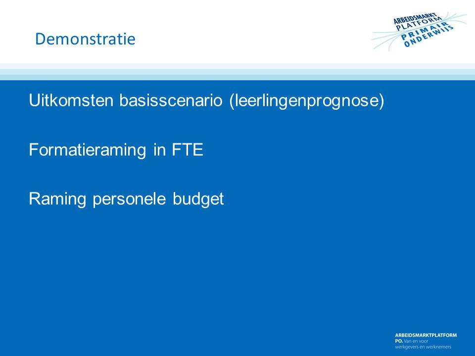 Demonstratie Uitkomsten basisscenario (leerlingenprognose) Formatieraming in FTE Raming personele budget
