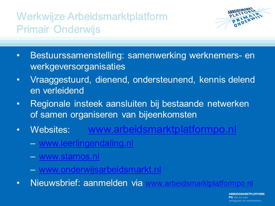 Werkwijze Arbeidsmarktplatform Primair Onderwijs Bestuurssamenstelling: samenwerking werknemers- en werkgeversorganisaties Vraaggestuurd, dienend, ond
