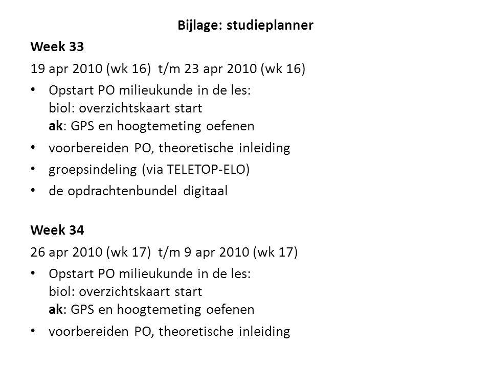 Bijlage: studieplanner Week 33 19 apr 2010 (wk 16) t/m 23 apr 2010 (wk 16) Opstart PO milieukunde in de les: biol: overzichtskaart start ak: GPS en ho
