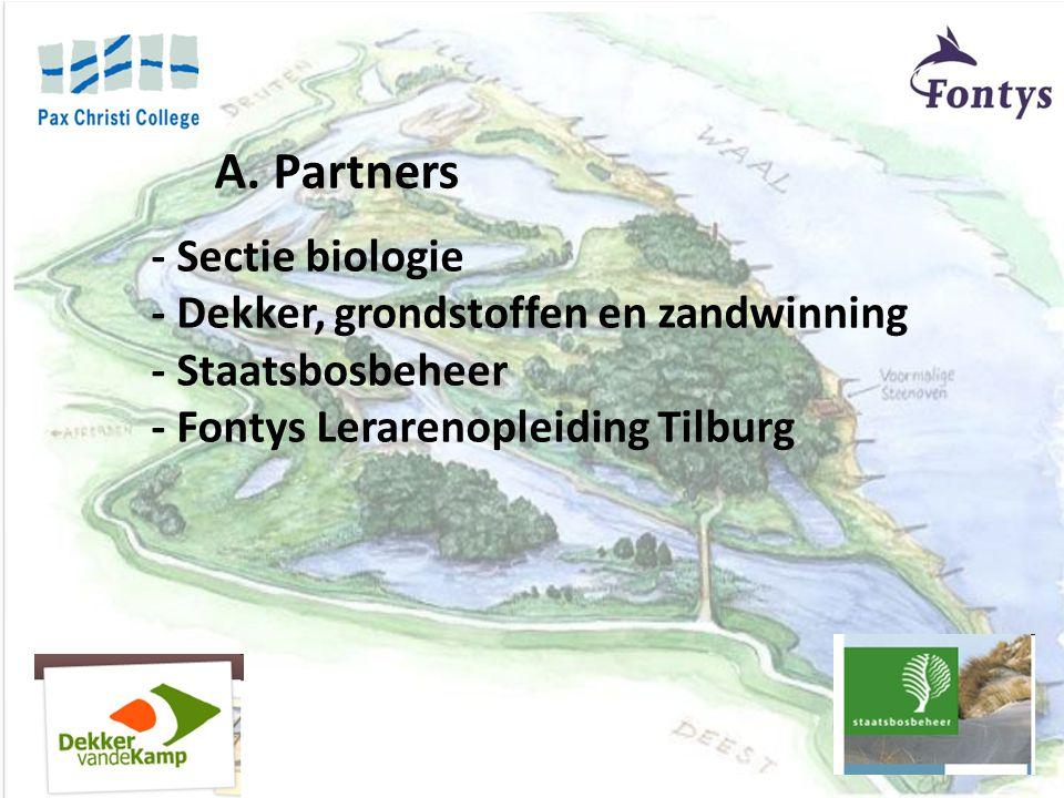 - Sectie biologie - Dekker, grondstoffen en zandwinning - Staatsbosbeheer - Fontys Lerarenopleiding Tilburg A. Partners