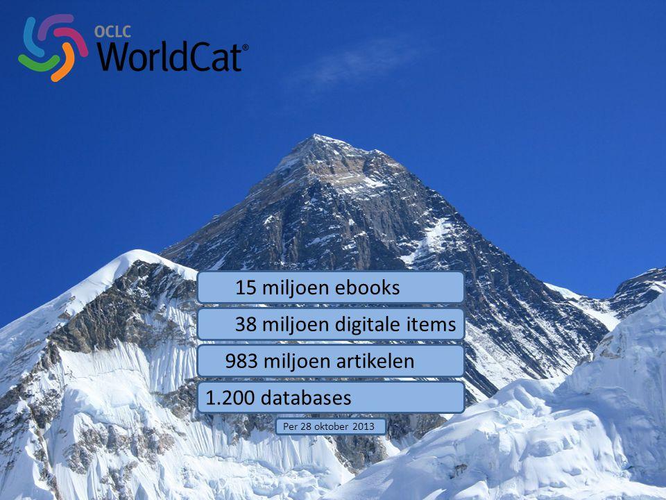 15 miljoen ebooks 38 miljoen digitale items 983 miljoen artikelen 1.200 databases Per 28 oktober 2013