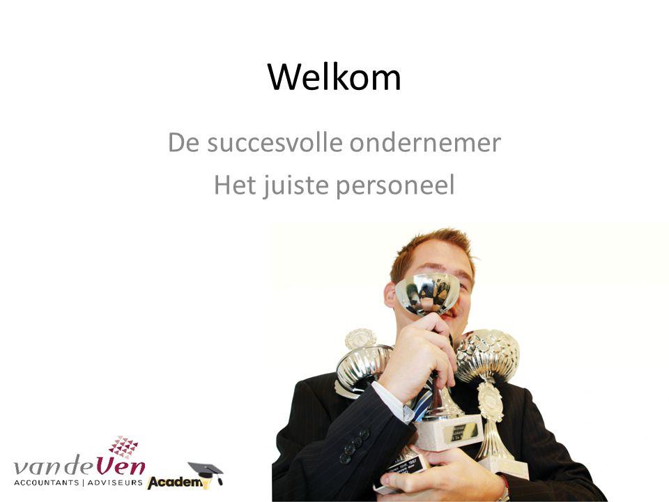 Welkom De succesvolle ondernemer Het juiste personeel