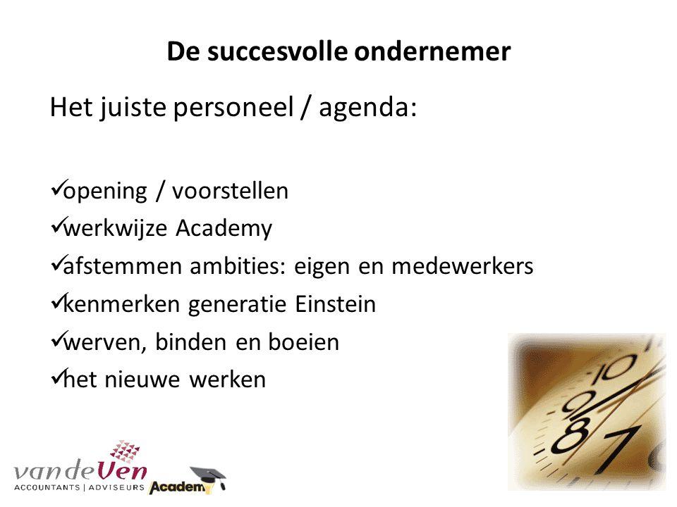 De succesvolle ondernemer Het juiste personeel / agenda: opening / voorstellen werkwijze Academy afstemmen ambities: eigen en medewerkers kenmerken ge
