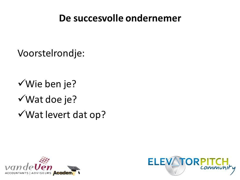 De succesvolle ondernemer Doel: - Ambitieuze / resultaatgerichte ondernemers - Onderwerpen verschillende invalshoeken - Interactie / begeleiding
