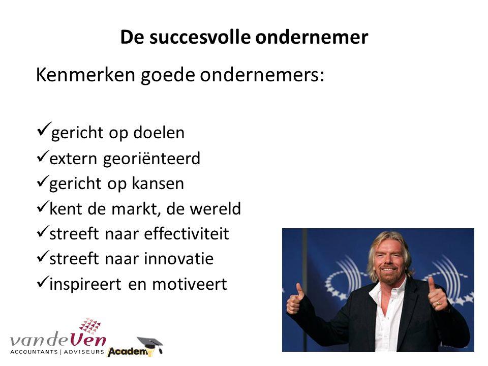 De succesvolle ondernemer Kenmerken goede ondernemers: gericht op doelen extern georiënteerd gericht op kansen kent de markt, de wereld streeft naar e