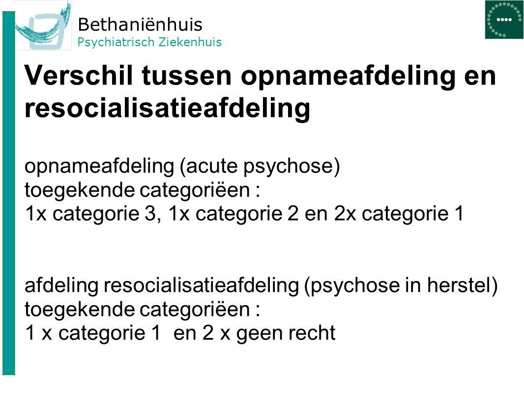 Bethaniënhuis Psychiatrisch Ziekenhuis Verschil tussen opnameafdeling en resocialisatieafdeling opnameafdeling (acute psychose) toegekende categoriëen