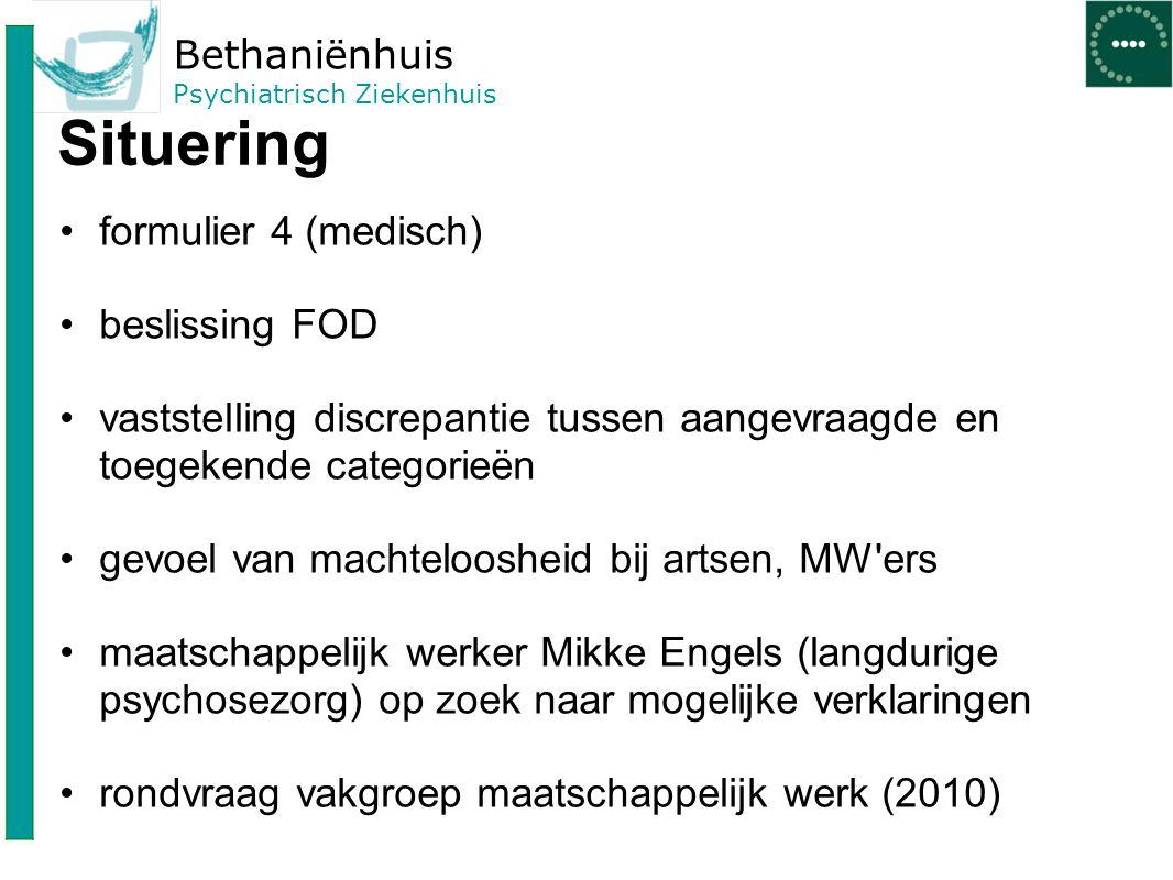 Bethaniënhuis Psychiatrisch Ziekenhuis Situering formulier 4 (medisch) beslissing FOD vaststelling discrepantie tussen aangevraagde en toegekende cate