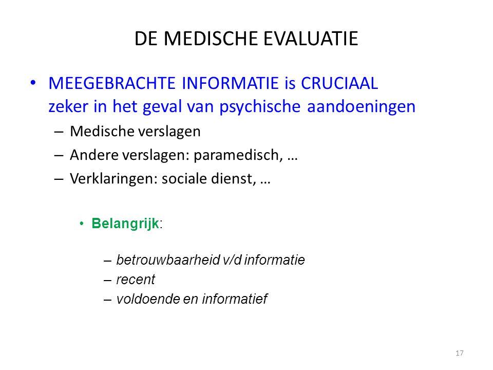 17 DE MEDISCHE EVALUATIE MEEGEBRACHTE INFORMATIE is CRUCIAAL zeker in het geval van psychische aandoeningen – Medische verslagen – Andere verslagen: p