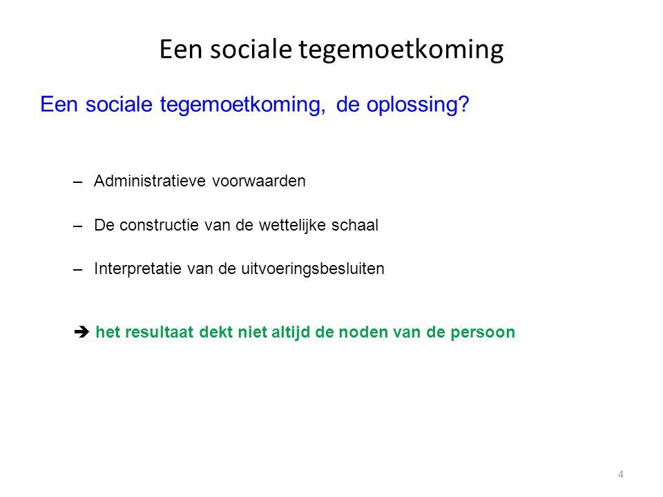 4 Een sociale tegemoetkoming Een sociale tegemoetkoming, de oplossing? –Administratieve voorwaarden –De constructie van de wettelijke schaal –Interpre