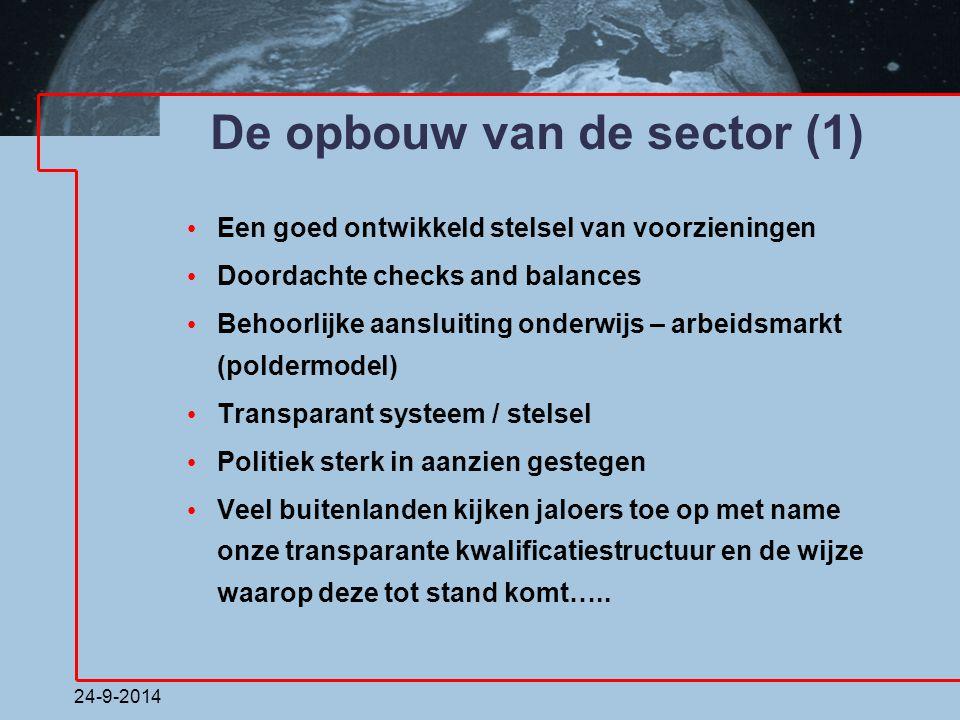 24-9-2014 De opbouw van de sector (1) Een goed ontwikkeld stelsel van voorzieningen Doordachte checks and balances Behoorlijke aansluiting onderwijs –