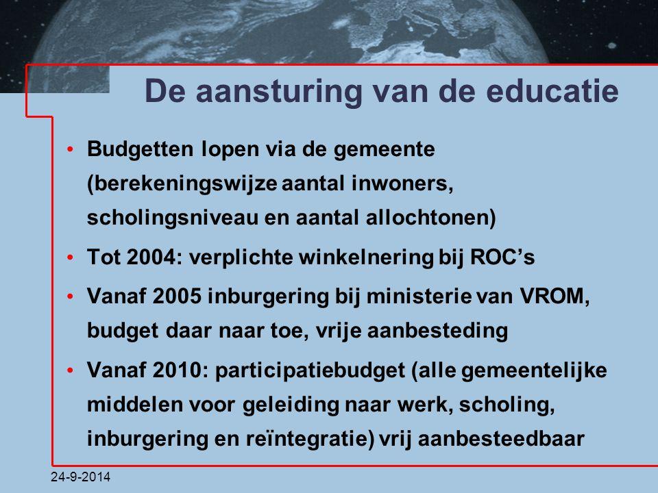 24-9-2014 De aansturing van de educatie Budgetten lopen via de gemeente (berekeningswijze aantal inwoners, scholingsniveau en aantal allochtonen) Tot