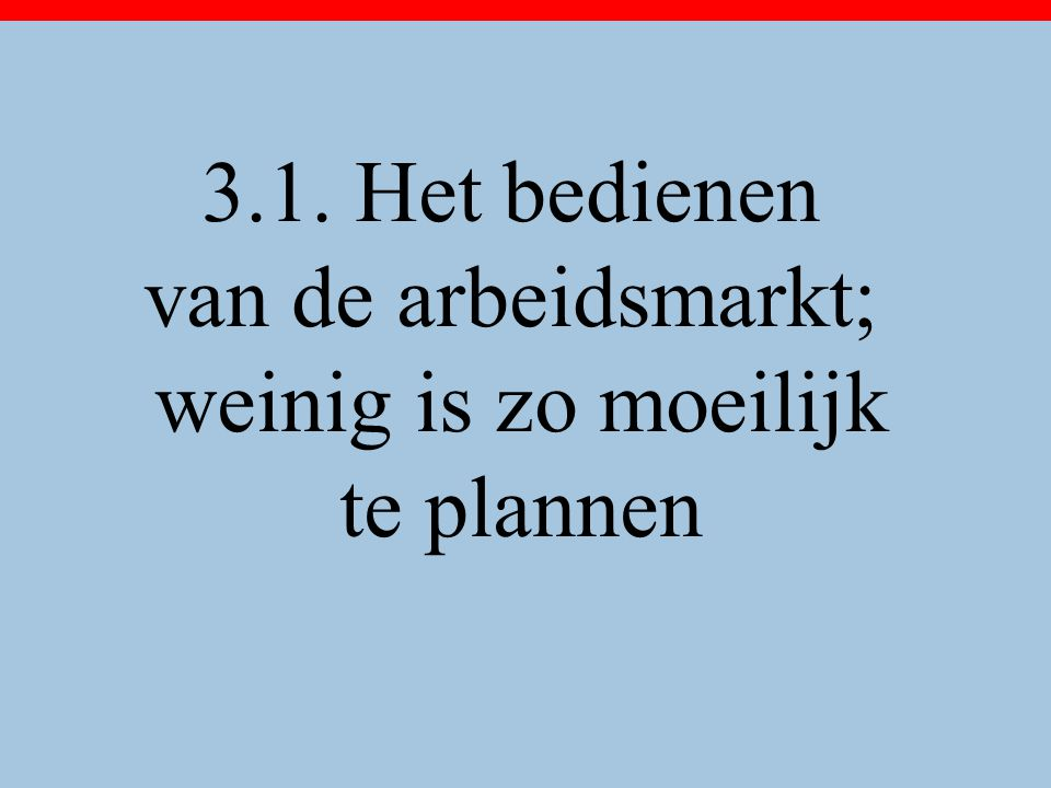 3.1. Het bedienen van de arbeidsmarkt; weinig is zo moeilijk te plannen