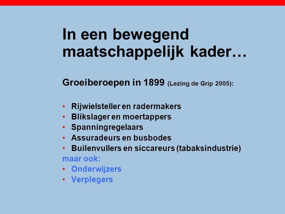 In een bewegend maatschappelijk kader… Groeiberoepen in 1899 (Lezing de Grip 2005): Rijwielsteller en radermakers Blikslager en moertappers Spanningre