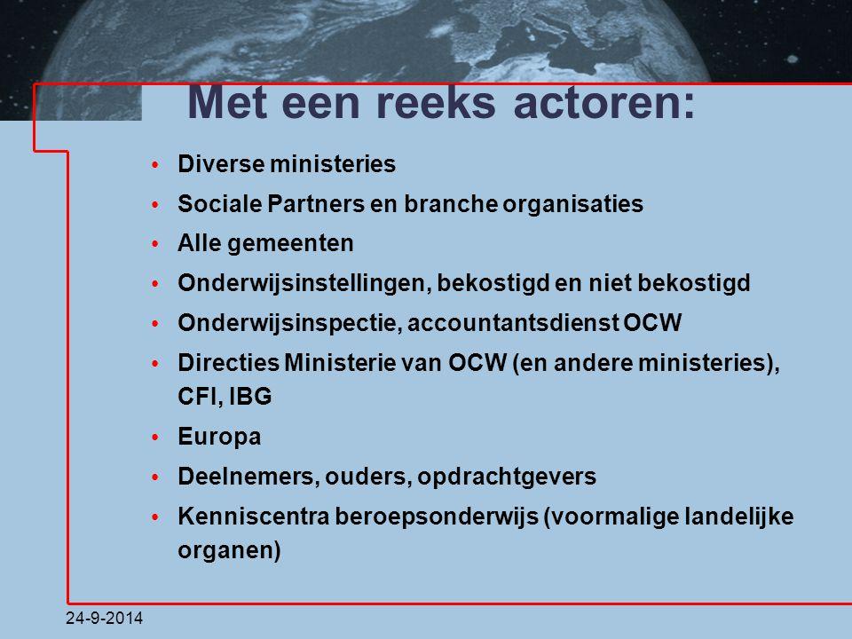24-9-2014 Met een reeks actoren: Diverse ministeries Sociale Partners en branche organisaties Alle gemeenten Onderwijsinstellingen, bekostigd en niet
