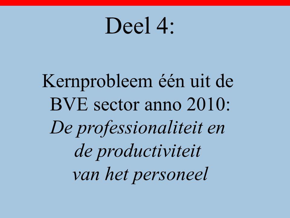Deel 4: Kernprobleem één uit de BVE sector anno 2010: De professionaliteit en de productiviteit van het personeel