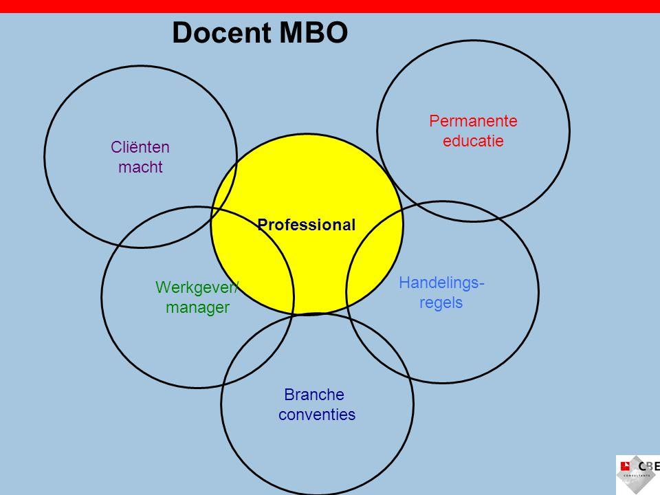 Professional Handelings- regels Branche conventies Permanente educatie Cliënten macht Werkgever/ manager Docent MBO