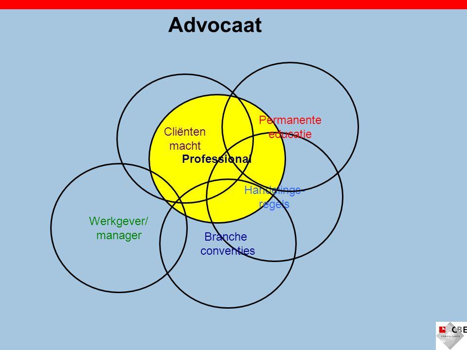 Professional Advocaat Handelings- regels Branche conventies Permanente educatie Cliënten macht Werkgever/ manager