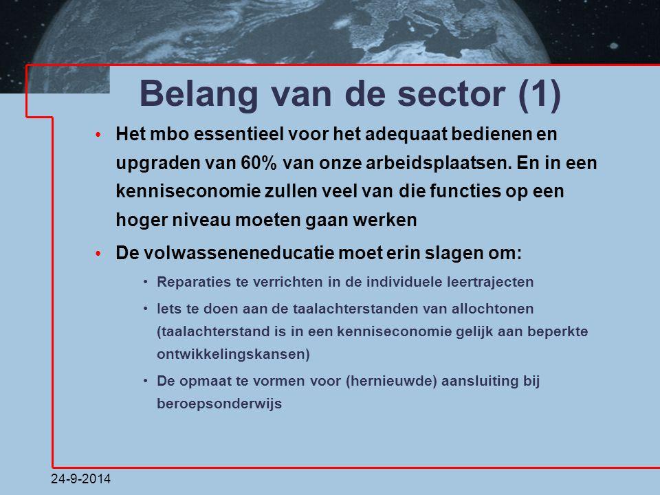 24-9-2014 Belang van de sector (1) Het mbo essentieel voor het adequaat bedienen en upgraden van 60% van onze arbeidsplaatsen. En in een kenniseconomi