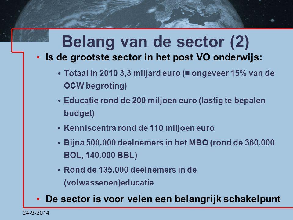24-9-2014 Belang van de sector (2) Is de grootste sector in het post VO onderwijs: Totaal in 2010 3,3 miljard euro (= ongeveer 15% van de OCW begrotin