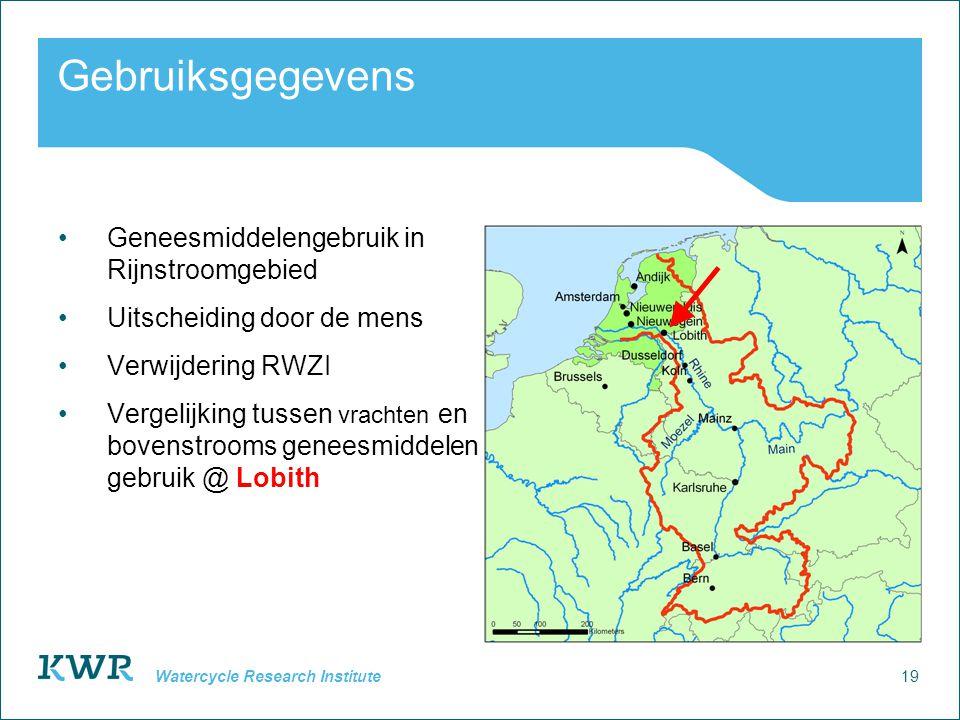 19 Watercycle Research Institute Gebruiksgegevens Geneesmiddelengebruik in Rijnstroomgebied Uitscheiding door de mens Verwijdering RWZI Vergelijking tussen vrachten en bovenstrooms geneesmiddelen gebruik @ Lobith