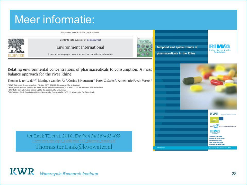 28 Watercycle Research Institute Meer informatie: ter Laak TL et al. 2010, Environ Int 36:403-409 ://www.riwa-rijn.org/e_publikaties/169_pharmas_trend