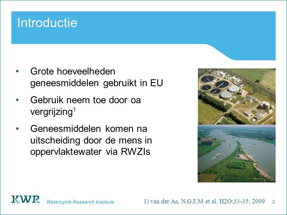 3 Watercycle Research Institute Introductie Grote hoeveelheden geneesmiddelen gebruikt in EU Gebruik neem toe door oa vergrijzing 1 Geneesmiddelen kom