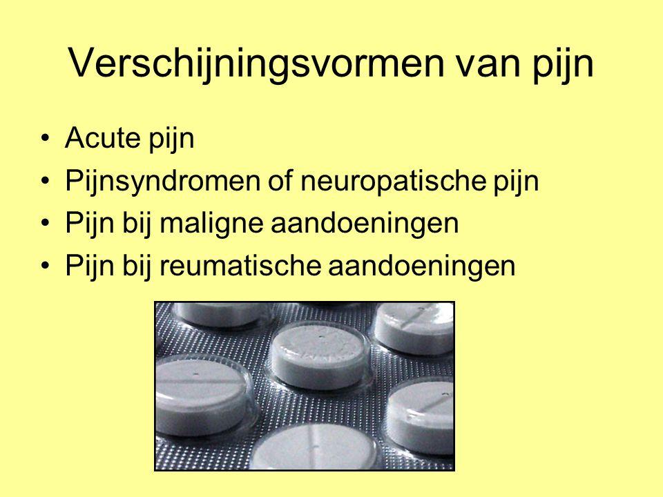 Verschijningsvormen van pijn Acute pijn Pijnsyndromen of neuropatische pijn Pijn bij maligne aandoeningen Pijn bij reumatische aandoeningen