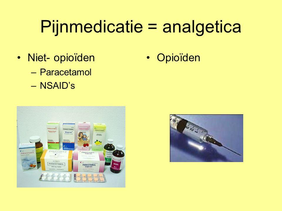 Pijnmedicatie = analgetica Niet- opioïden –Paracetamol –NSAID's Opioïden