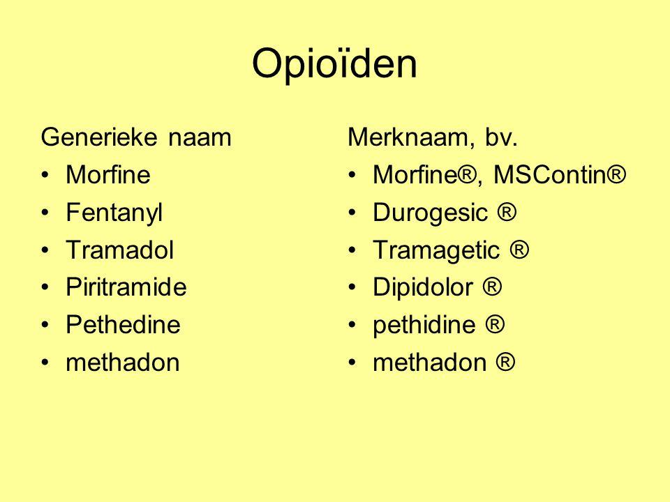 Opioïden Generieke naam Morfine Fentanyl Tramadol Piritramide Pethedine methadon Merknaam, bv. Morfine®, MSContin® Durogesic ® Tramagetic ® Dipidolor