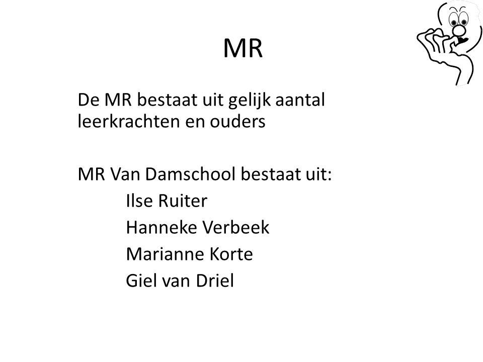 MR De MR denkt mee met de school en het schoolbestuur over o.a.: Onderwijskundige doelstellingen Schoolplan en zorgplan Schoolreglement Schoolgids Ondersteunende werkzaamheden door ouders Arboregels Beëindiging, inkrimping of uitbreiding (incl.
