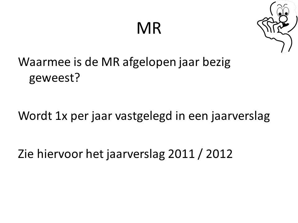 MR Waarmee is de MR afgelopen jaar bezig geweest.