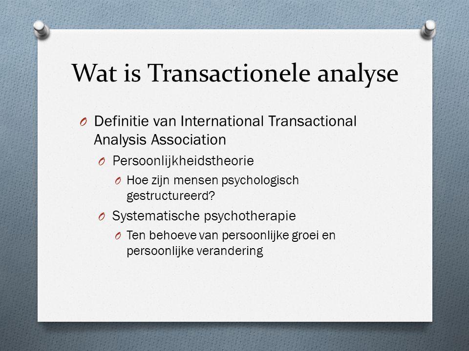 Wat is Transactionele analyse O Definitie van International Transactional Analysis Association O Persoonlijkheidstheorie O Hoe zijn mensen psychologisch gestructureerd.