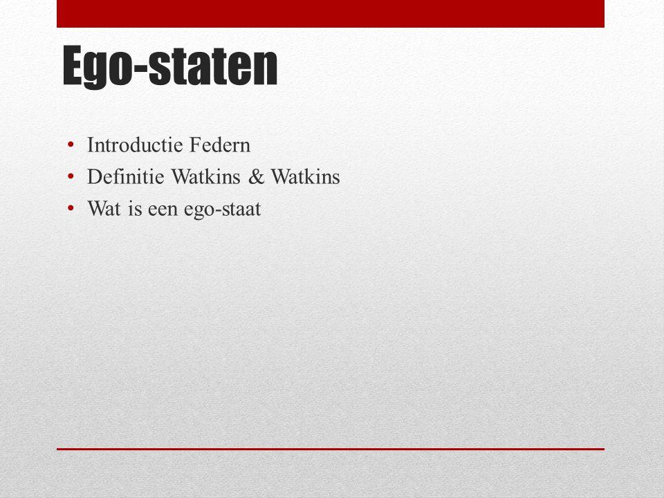 Ego-staten Introductie Federn Definitie Watkins & Watkins Wat is een ego-staat