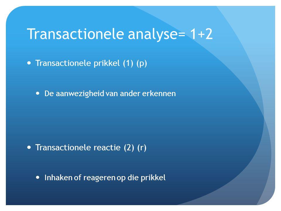 Transactionele analyse= 1+2 Transactionele prikkel (1) (p) De aanwezigheid van ander erkennen Transactionele reactie (2) (r) Inhaken of reageren op di