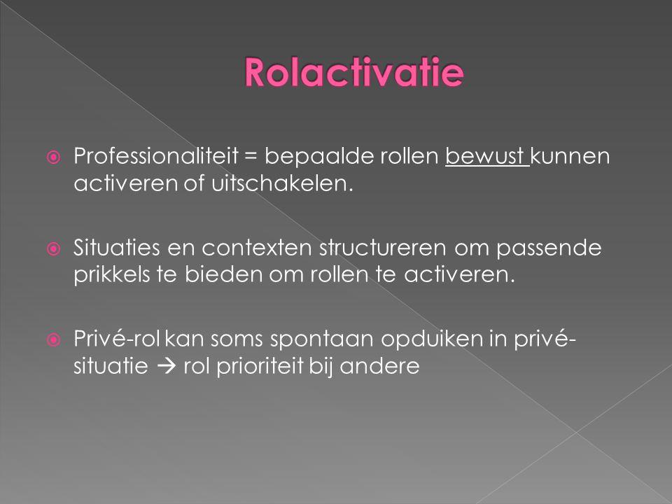  Professionaliteit = bepaalde rollen bewust kunnen activeren of uitschakelen.  Situaties en contexten structureren om passende prikkels te bieden om
