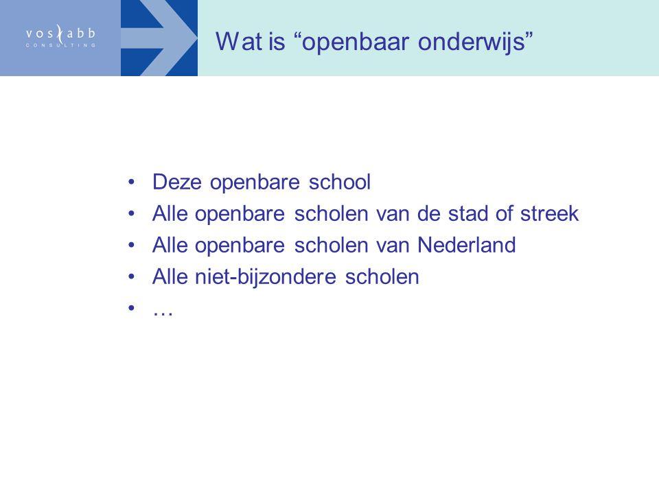 """Wat is """"openbaar onderwijs"""" Deze openbare school Alle openbare scholen van de stad of streek Alle openbare scholen van Nederland Alle niet-bijzondere"""