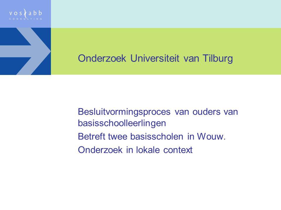 Onderzoek Universiteit van Tilburg Besluitvormingsproces van ouders van basisschoolleerlingen Betreft twee basisscholen in Wouw. Onderzoek in lokale c