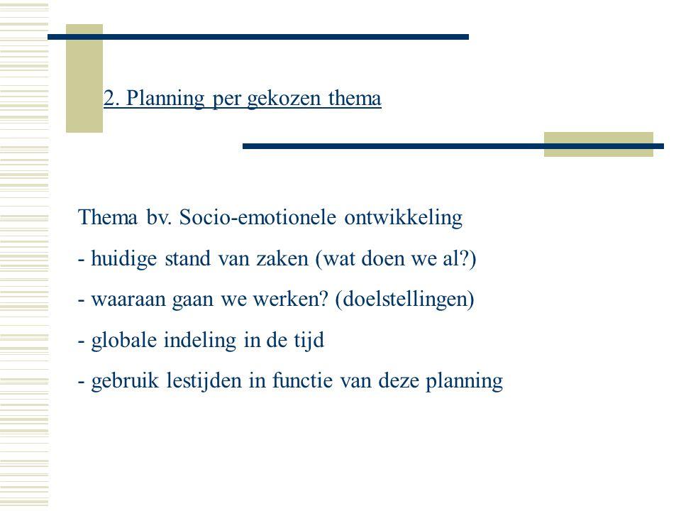 Thema bv. Socio-emotionele ontwikkeling - huidige stand van zaken (wat doen we al?) - waaraan gaan we werken? (doelstellingen) - globale indeling in d