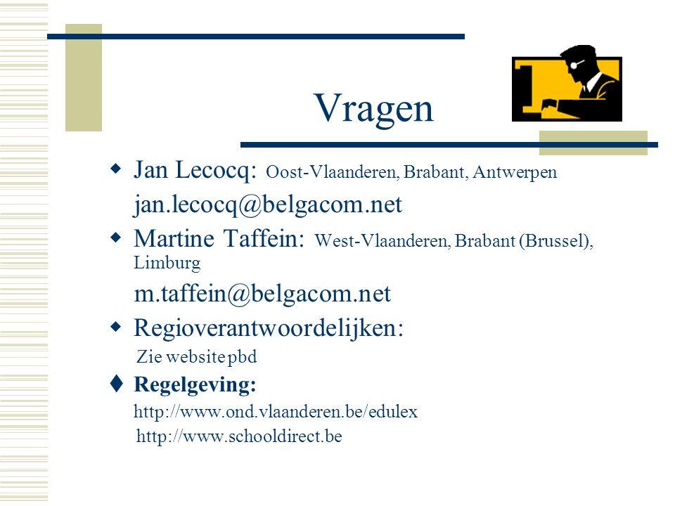 Vragen  Jan Lecocq: Oost-Vlaanderen, Brabant, Antwerpen jan.lecocq@belgacom.net  Martine Taffein: West-Vlaanderen, Brabant (Brussel), Limburg m.taff