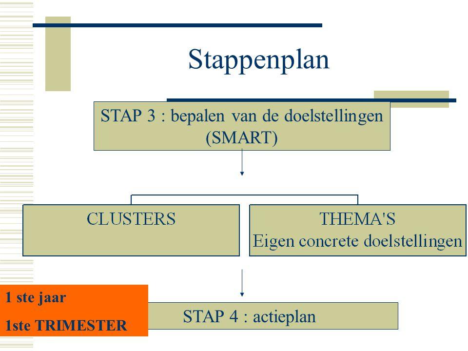 Stappenplan STAP 3 : bepalen van de doelstellingen (SMART) STAP 4 : actieplan 1 ste jaar 1ste TRIMESTER