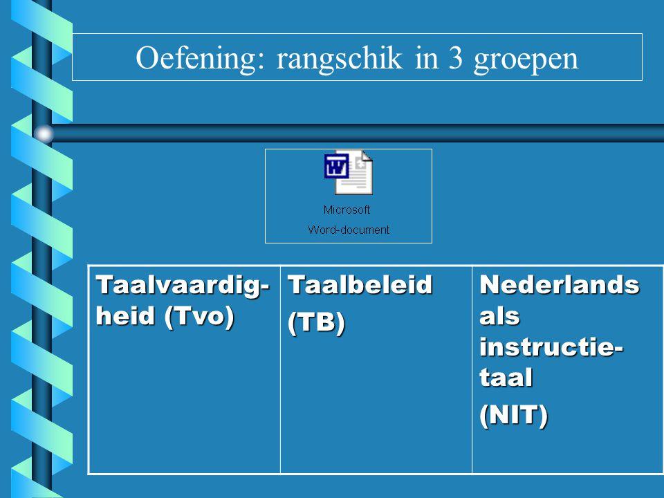 Oefening: oplossing Taalvaardig- heid (Tvo) = taak van leerkracht Nederlands op klasniveau Taalbeleid(TB)= beleid op schoolniveau (TB=Tvo+NIT) Nederlands als instructie- taal (NIT) = taak van alle leerkrachten (klasniveau)