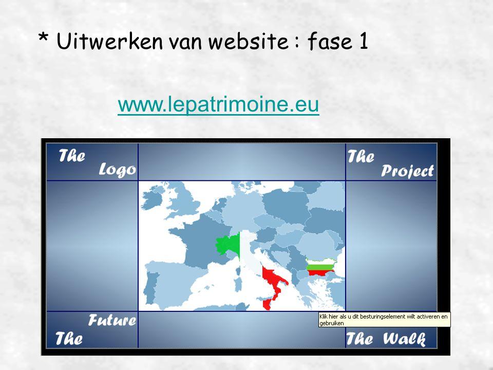 * Uitwerken van website : fase 1 www.lepatrimoine.eu