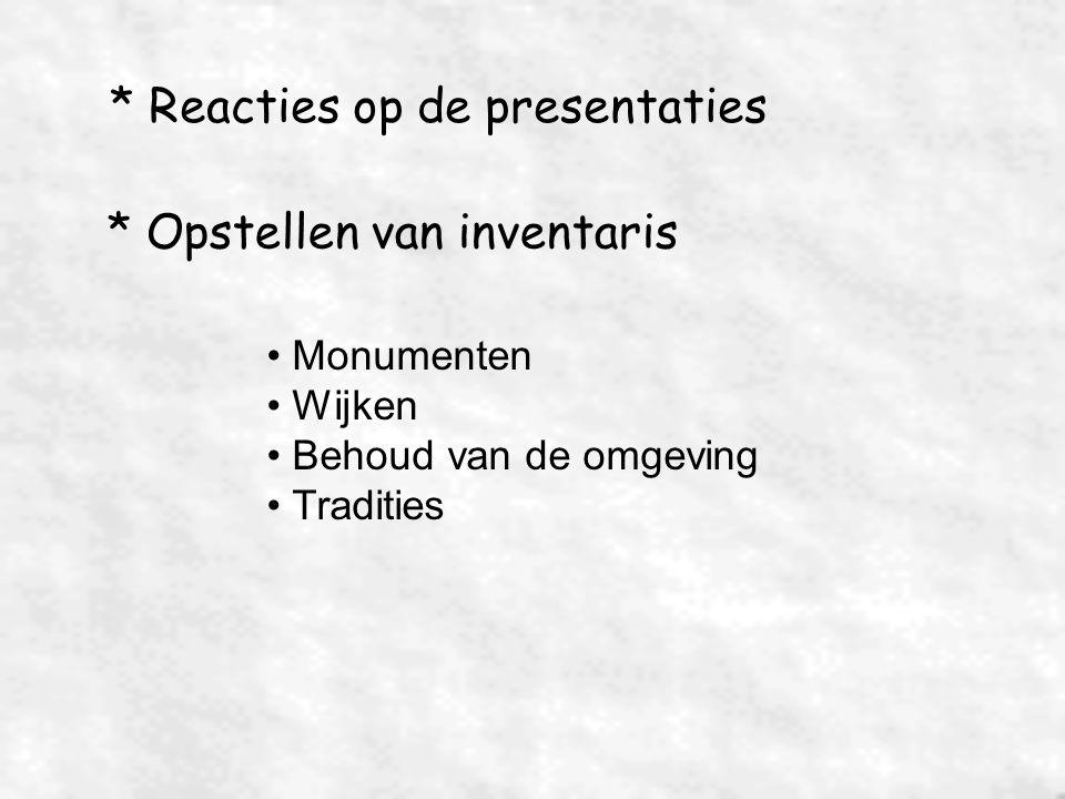 * Reacties op de presentaties * Opstellen van inventaris Monumenten Wijken Behoud van de omgeving Tradities