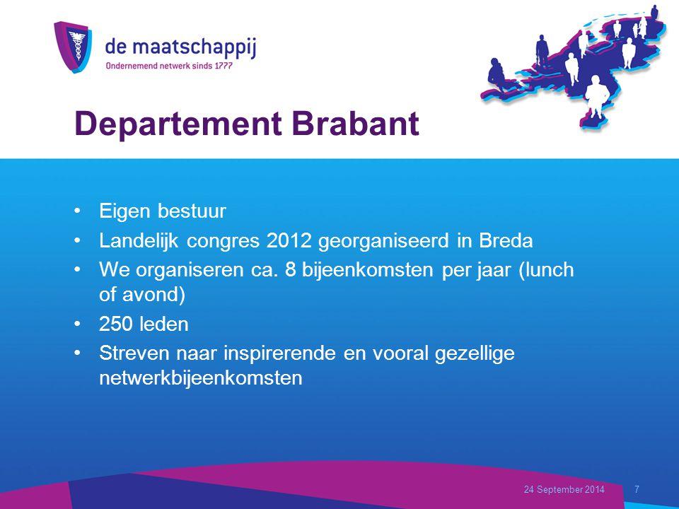 Departement Brabant Eigen bestuur Landelijk congres 2012 georganiseerd in Breda We organiseren ca.