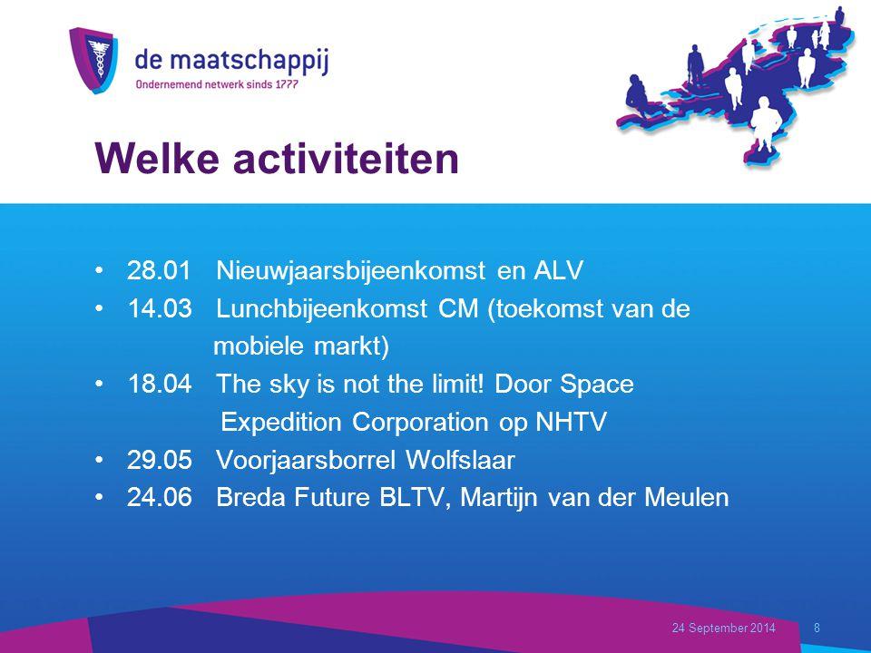 Welke activiteiten 28.01 Nieuwjaarsbijeenkomst en ALV 14.03 Lunchbijeenkomst CM (toekomst van de mobiele markt) 18.04 The sky is not the limit.