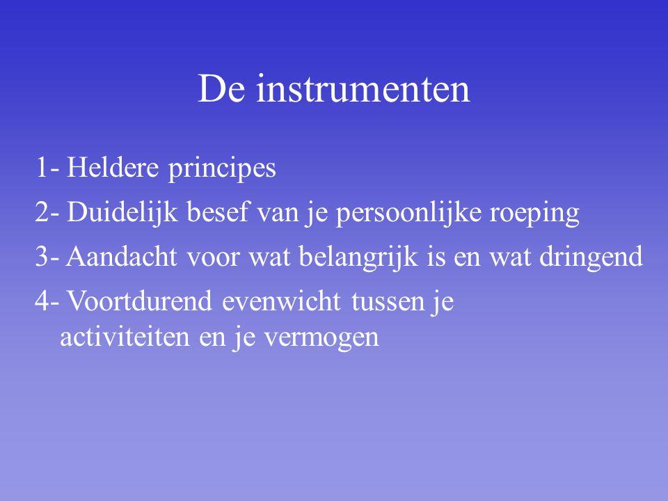 De instrumenten 1- Heldere principes 2- Duidelijk besef van je persoonlijke roeping 3- Aandacht voor wat belangrijk is en wat dringend 4- Voortdurend evenwicht tussen je activiteiten en je vermogen