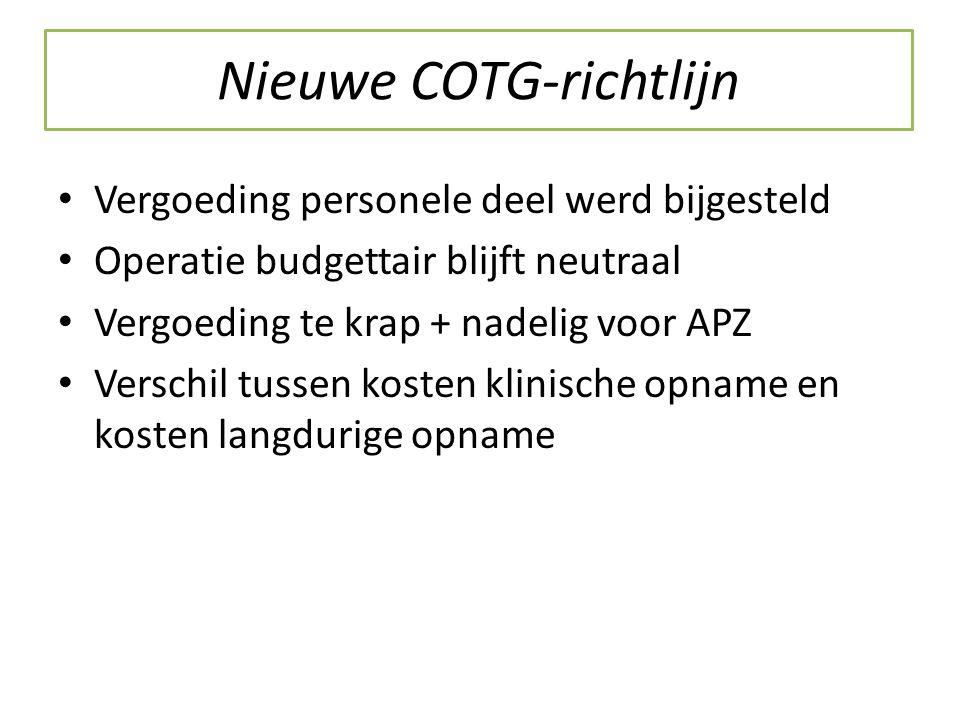 Nieuwe COTG-richtlijn Vergoeding personele deel werd bijgesteld Operatie budgettair blijft neutraal Vergoeding te krap + nadelig voor APZ Verschil tussen kosten klinische opname en kosten langdurige opname